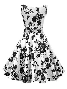 White Audrey Hepburn Inspired Dress 50s Flowers Printed Sleeveless Party Cotton Vintage Swing Dress