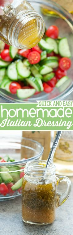 This uber easy Italian dressing is so fast and flavorful, you'll never buy pre-made dressing again!