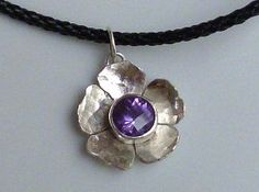 Flower Pendant with Amethyst in Sterling Silver by BeatrizFortes, $60.00