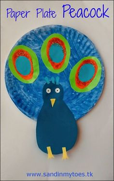 Colourful paper plate peacock craft for kids - to celebrate an Indian holiday: Paper Plate Art, Paper Plate Animals, Paper Plate Crafts For Kids, Paper Plates, Peacock Crafts, Bird Crafts, Animal Crafts, Daycare Crafts, Toddler Crafts