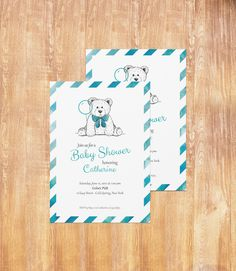 Blue Baby Boy Shower Invitation, Teddy Bear Theme, Watercolor Pattern, A6 Paper Size by BretyPaperie on Etsy
