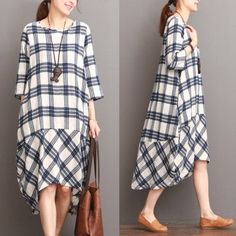 Tow layered long autumn dress women round neck by W Dresses, Cotton Dresses, Nice Dresses, Short Sleeve Dresses, Well Dressed, Plus Size Fashion, Cool Outfits, Long Shirts, Trending Outfits