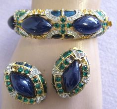 Alice Caviness Demi Faux Lapis Enamel Rhinestone Hinged Bangle Bracelet Earrings   eBay