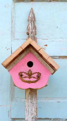Cottage pink birdhouse