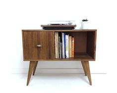 Vinyl Record Storage Console Table Mid Century Modern Regarding Cabinet Plan 11 Mid Century Console, Mid Century Cabinet, Mid Century Modern Table, Vintage Record Player Stand, Record Stand, My Furniture, Furniture Design, Record Table, Table Measurements