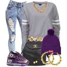 """Loving those KDs cuz I love purple ^-^"" by livelifefreelyy on Polyvore"