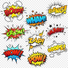 Collection of nine multicolored comic sound Effects.- Collection of nine multicolored comic sound Effects. This Graphic set… Comic effets sonores – Illustration vectorielle - Arte Pop, Comic Sound Effects, Typographie Logo, Pop Art, Photo Comic, Comic Art, Comic Books, Illustrator Cs5, Superhero Party