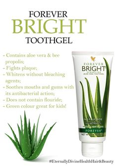 Getting fed up of stained yellow teeth? Love them shades whiter? Then the Forever Bright Toothgel is for you!! This product contains Aloe Vera bee propolis - this nourishes strengthens and protects the teeth gums whilst fighting plaque. The tooth gel also whitens your teeth without bleaching agents! The product also doesnt include fluoride - which can discolour your teeth. It soothes mouth gums with its antibacterial action, and its Green color is great for keeping the kids happy..