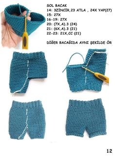Best 12 Crochet Pattern for Kate's Jeans Pants Shorts Skirt Crochet Doll Dress, Crochet Barbie Clothes, Baby Doll Clothes, Crochet Doll Pattern, Knitted Dolls, Crochet Patterns, Baby Knitting, Crochet Baby, Crochet Bikini