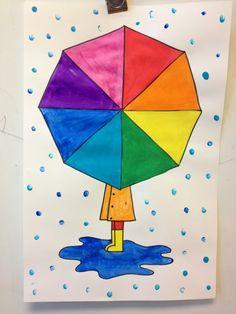 color wheel umbrellas with fingerprint rain Farbrad Regenschirme mit Fingerabdruck regen