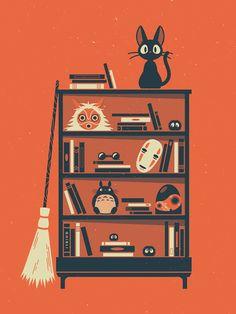 Ghibli Shelf Miyazaki 18x24 by FuturistArt on Etsy
