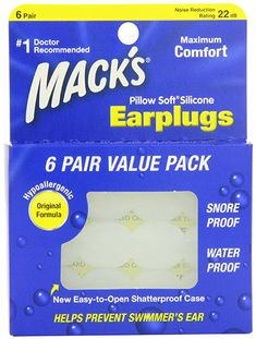 2. Macks Pillow Soft Silicone Earplugs