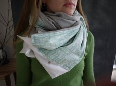 Infinty Snap Scarf // Grey Wool // Teal and Blue by Stitch803, $39.00