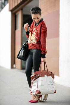 Road Trip :: Embellished sweater & Coated denim : Wendy's Lookbook
