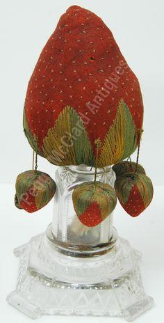 Textiles - Antique Make-Do Pincushion -- Momma Strawberry & Babies! - Peggy McClard Antiques - Americana & Folk Art