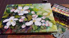 Kirschblüten als Motiv für die Aquarellmalerei | Das fertige Apfelblüten Aquarell auf Leinwand (c) Frank Koebsch
