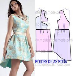 Analise de forma correta o desenho da transformação do molde de vestido decote rainha para poder fazer a leitura de forma correta. Este passo é importante para entender o processo da transformação do