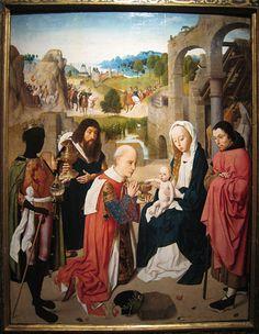 Veel aandacht voor details in deze aanbidding der koningen door Geertgen tot Sint Jans (toegeschreven), ca. 1480 - ca. 1485. www.kukullus.nl