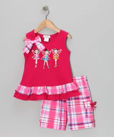 Take a look at this Fuchsia Fairy Tunic & Plaid Shorts - Infant, Toddler & Girls by Littoe Potatoes on #zulily today!