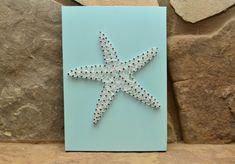 Starfish String Art, White Starfish, Wood Decor, Beach Decor, Beach Cottage Decor, Seaside Decor, Home Decor