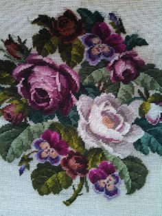 2 Floral Needlepoint Panels Roses Pansies Lilacs | eBay