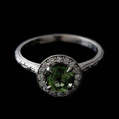 Diamond Round Green Tourmaline Engraved Vintage Style Engagement Ring