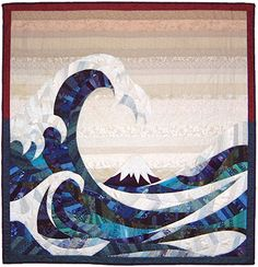 The Wave 1989 Made as part of my C&G Patchwork and Quilting, Part Based on the painting by Hokusai, The Great Wave of Kanasawa. Quilting Designs, Art Quilting, Quilt Art, Traditional Quilt Patterns, String Quilts, Landscape Quilts, Thread Painting, Sand Art, Quilt Stitching