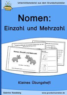 Unterrichtsmaterial für den Deutschunterricht in der Grundschule: Kopiervorlagen für ein kleines Übungsheft zum Thema Nomen: Einzahl-Mehrzahl (Arbeitsblätter) 25 Seiten, pdf-Format, Klassen 2-3