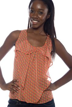 Fun and Whimsy Sleeveless Floral Print Bow Front Top - Rust from B_Envied at Lucky 21