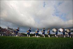 The percussion takes the field for pregame!