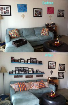 After all my posting of photo shelves on walls here is my living room project completed!