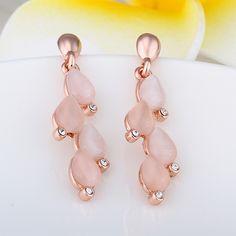 Arlumi 18K Rose Gold Plated Zircon Opal Leaf Shaped Earrings E917