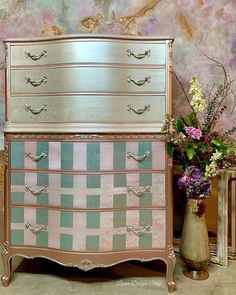 286 Likes, 63 Comments - LauraDesignsShop Bedroom Furniture For Sale, Cottage Furniture, Farmhouse Furniture, Metallic Painted Furniture, Furniture Painting Techniques, Diy Home Repair, Dresser With Mirror, Ideas, Modern Masters