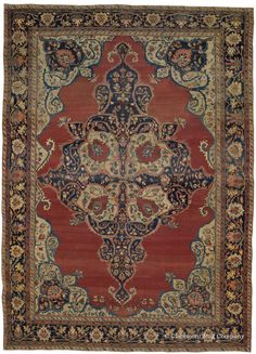FERAHAN SAROUK, West Central Persian, 8ft 7in x 11ft 11in, Circa 1850.  This extremely finely crafted Persian town rug represents the early work of the prized Ferahan Sarouk style. Consistent with Feraghan rugs of this earlier era, it boasts a relaxed spaciousness of design in its field that is juxtaposed to the exquisite intricacy of its corner pieces and borders. This and its continual shifts of exotic, time-softened colors are particularly beguiling attributes.
