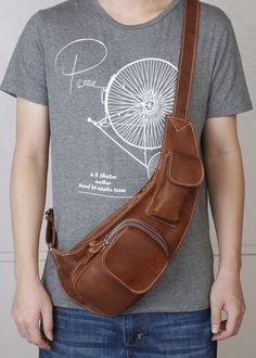 Small Unbalance Backpack Mens Cowhide Leather Sling Messenger Bag Outdoor Chest Bag NEW 3011 Free shipping $75.00