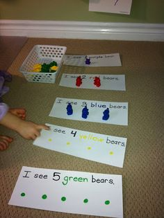 For this project, the children can use one to one correspondence to match the number of figures with the number noted on the paper. Having the dots color coded to match the figures in also very helpful and teaches colors.