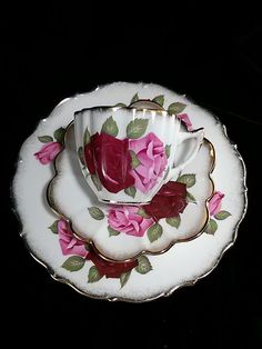 Vintage Royal Imperial Bone China Roses Cup & Saucer Trio - 3 Piece - England #RoyalImperial