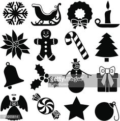 Black and white vector icons with a Christmas theme.