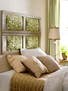 Diy headboard... White frames, gray/white black/white fabric