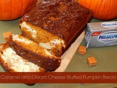 Caramel and Cream Cheese Stuffed Pumpkin Bread Drizzled with Chocolate #TasteTheSeason #CollectiveBias #ad