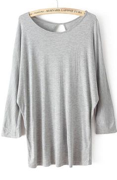 Grey Batwing Long Sleeve Hollow Loose T-Shirt - Sheinside.com