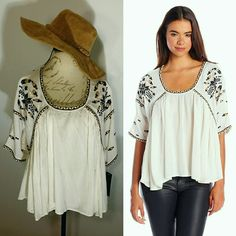"""NWT M Embroidered Hi-Lo Boho Chic Blouse Top The Hat is also available for sale under one of my bundles Please note this is not the only app I use to sell so if you see an item disappear from your (like) list is due to being sold*****Bring your inner Boho-chic out with this Boho Hi-Lo Embroidered Stitch Top from French Connection $138 Retail Value  *Measurements for Size Medium*  Overall Length: (Front)24"""" Inches (BACK)26 """" Inches Waist Midsection: 27"""" inches laid flat across super roomie…"""