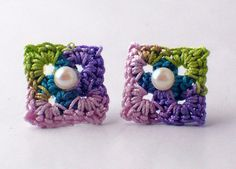Crochet Earrings Mini Granny Square Studs Pink by Nothingbutstring
