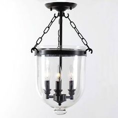Antique Copper Glass Lantern Flush Mount Chandelier | Overstock.com Shopping - Great Deals on Chandeliers & Pendants