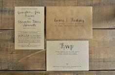 Calligraphy Kraft Wedding Invitation - Feel Good Wedding Invitations
