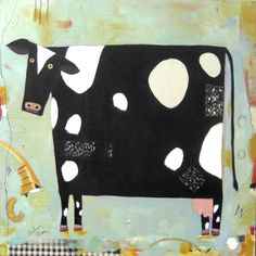 Eat More Chicken, Acrylic on Canvas, ©Barbara Olsen Cow Illustration, Illustrations, Animal Paintings, Art Paintings, Frida Art, Cow Painting, Cow Art, Funky Art, Arte Popular
