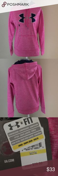 NWT Under Armour Hoodie NWT Under Armour Hoodie.  Pink and white w/Navy Logo. Size M Under Armour Tops Sweatshirts & Hoodies