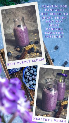 Convert your favorite vegan blueberry pancakes to Breakfast smoothies! This easy blueberry, banana, almond milk smoothie with dates is one healthy and tasty treat! Made with just a few basic ingredients, this dairy-free smoothie serves your favorite pancake flavor in the form of a creamy shake and that too in half the time! #blueberry #blueberries #smoothie #drink #breakfast #berries #pancake #vegan #dairyfree #almondmilk #dates #banana #milkshake #onthego #quick #snack #healthy