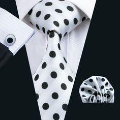 Black and White Silk Necktie Set LBW1057