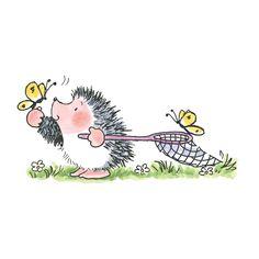 (✿´ ꒳ ` )ノ                                                          By Penny Black: Hedge Hog With Butterflies